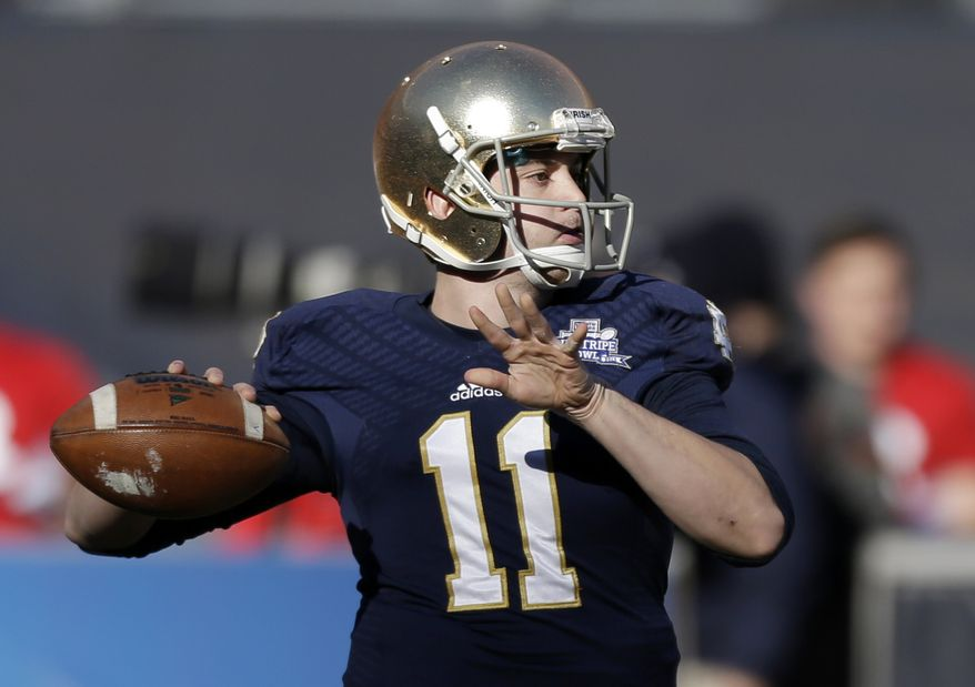 Notre Dame quarterback Tommy Rees throws a pass during the first half of the Pinstripe Bowl NCAA college football game against Rutgers Saturday, Dec. 28, 2013, at Yankee Stadium in New York. (AP Photo/Frank Franklin II)