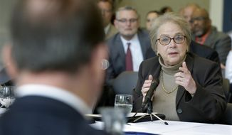 R. Barbara Gitenstein, president of The College of New Jersey, answers a question in Ewing, N.J., Wednesday, May 14, 2014, as the New Jersey  Assembly's Higher Education Committee visited the college campus to get input on affordability and other higher education issues. The committee scheduled the hearing Wednesday to discuss a package of 20 bills focused on higher education.(AP Photo/Mel Evans)