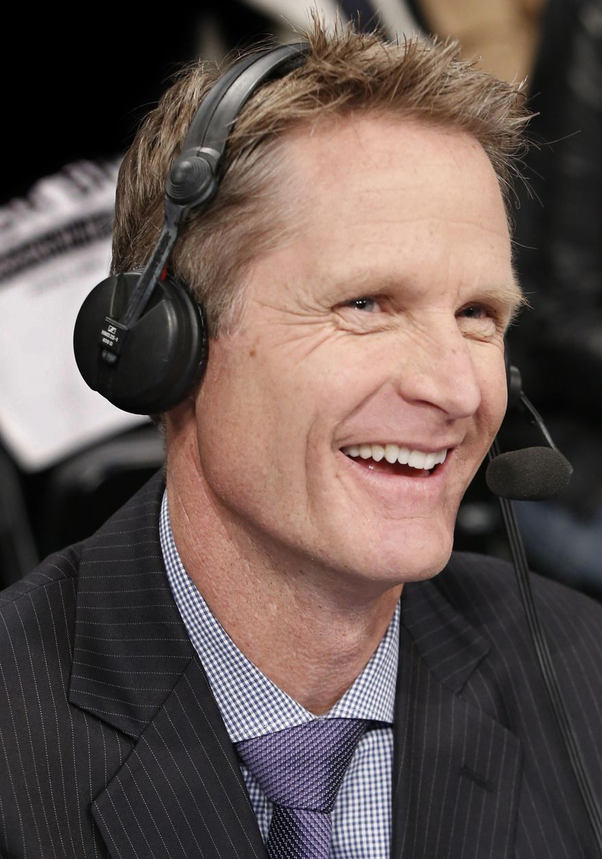 FILE - In this April 27, 2014, file photo, TNT commentator and former Chicago Bulls and San Antonio Spurs guard Steve Kerr works courtside for an NBA basketball first-round playoff series between the Toronto Raptors and the Brooklyn Nets in New York. The Golden State Warriors have won the bidding war with the New York Knicks for Kerr, hiring him away from the TNT broadcast table to be their coach. Kerr agreed to a five-year, $25 million deal Wednesday, May 14, 2014, said his agent, Mike Tannenbaum. (AP Photo/Kathy Willens, File)