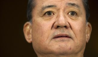 Veterans Affairs Secretary Eric Shinseki listens on Capitol Hill in Washington, Thursday, May 15, 2014, while testifying before the Senate Veterans Affairs Committee hearing to examine the state of Veterans Affairs health care. (AP Photo/Cliff Owen)
