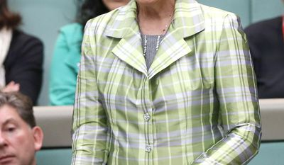 New Zealand's Dame Kiri Te Kanawa is acknowledged while attending question time in the House of Representatives at the Australian Parliament in Canberra, Thursday, May 15, 2014. Dame Kiri is on her 70th Birthday Gala Tour. (AP Photo/Rick Rycroft)
