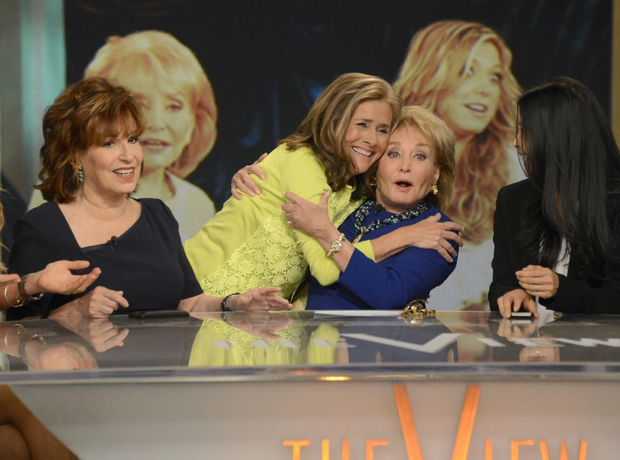 "This image released by ABC shows, from left, Joy Behar, Meredith Vieira and Barbara Walters on the set of the daytime talk series ""The View,"" Thursday, May 15, 2014 in New York. (AP Photo/ABC, Ida Mae Astute)"