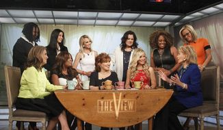 "This image released by ABC shows, standing from left, Whoopi Goldberg, Lisa Ling, Elisabeth Hasselbeck, Rosie O'Donnell Sherri Shepherd and Jenny McCarthy, and seated from left, Meredith Vieira, Star Jones, Joy Behar, Debbie Matenopoulos and Barbara Walters on the set of the daytime talk series ""The View,"" Thursday, May 15, 2014 in New York. (AP Photo/ABC, Lou Rocco)"