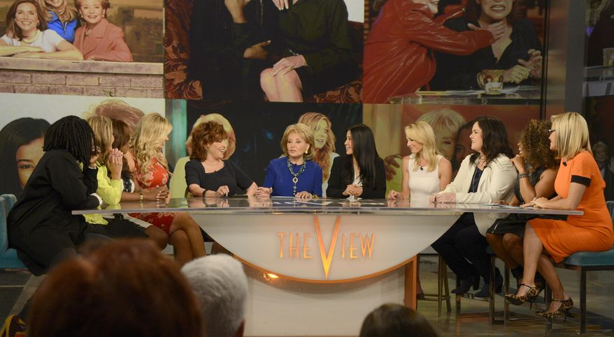 """This image released by ABC shows past and present co-hosts, from left, Whoopi Goldberg, Meredith Vieira, Star Jones, Debbie Matenopoulos, Joy Behar, Barbara Walters, Lisa Ling, Elisabeth Hasselbeck, Rosie O'Donnell, Sherri Shepherd and Jenny McCarthy on the set of the daytime talk show """"The View,"""" Thursday, May 15, 2014 in New York. (AP Photo/ABC, Ida Mae Astute)"""