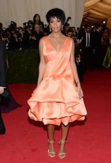 """FILE - This May 5, 2014 file photo shows Solange Knowles, sister of Beyonce Knowles, at The Metropolitan Museum of Art's Costume Institute benefit gala celebrating """"Charles James: Beyond Fashion"""" in New York. Beyonce, Jay Z and Solange say they have worked through and are moving on since a video leaked this week of Solange attacking Jay Z in an elevator inside the Standard Hotel after the May 5, gala. (Photo by Evan Agostini/Invision/AP)"""