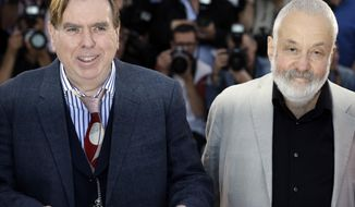 Actor Timothy Spall and director Mike Leigh pose for photographers during a photo call for Mr. Turner at the 67th international film festival, Cannes, southern France, Thursday, May 15, 2014. (AP Photo/Thibault Camus)