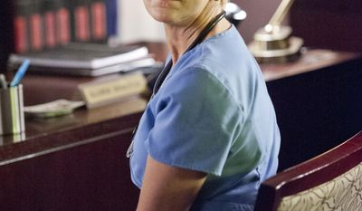 """This photo released by Showtime shows Edie Falco as Jackie Peyton in the television series, """"Nurse Jackie,"""" season 6. (AP Photo/Showtime, David M. Russell)"""