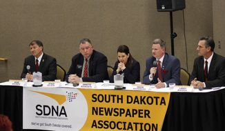 FILE - In this April 12, 2014 file photo, the five candidates seeking the GOP nomination to run for the U.S. Senate seat being vacated by the retiring Democratic Sen. Tim Johnson, from left, former South Dakota Gov. Mike Rounds, state Rep. Stace Nelson, Sioux Falls physician Annette Bosworth, Yankton attorney Jason Ravnsborg and state Sen. Larry Rhoden, participate in a debate in Pierre, S.D. The five will face off again in a live television debate Thursday, May 15, 2014, in Vermillion, S.D. (AP Photo/Capital Journal, Nick Lowrey, File)