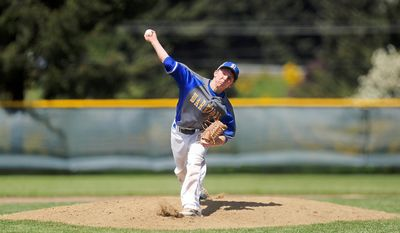 In this photo taken Tuesday, May 13, 2014, Rochester High School senior Dylan Fosnacht delivers a pitch to a La Center batter during the 13th inning of a District IV 1A baseball tournament first-round game at Rochester High School in Rochester, Wash. Fosnacht threw 194 pitches as he took a shutout into the 15th inning. His team beat La Center 1-0 in 17 innings. (AP Photo/The Chronicle, Pete Caster)