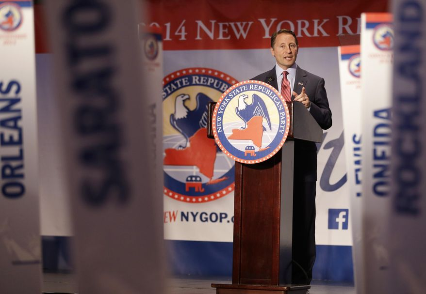 Republican nominee for governor Rob Astorino speaks during the New York State Republican Convention in Rye Brook, N.Y., Thursday, May 15, 2014. Republicans wrapped up their state party convention Thursday in Westchester County after nominating Astorino and other candidates for statewide office.  (AP Photo/Seth Wenig)