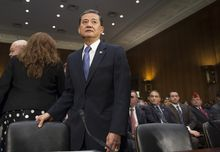 Veterans Affairs Secretary Eric Shinseki arrives on Capitol Hill in Washington, Thursday, May 15, 2014, to testify before the Senate Veterans Affairs Committee hearing to examine the state of Veterans Affairs health care. Shinseki said he is angry and saddened by allegations of treatment delays and preventable deaths at a Phoenix veterans hospital. (AP Photo/Cliff Owen)