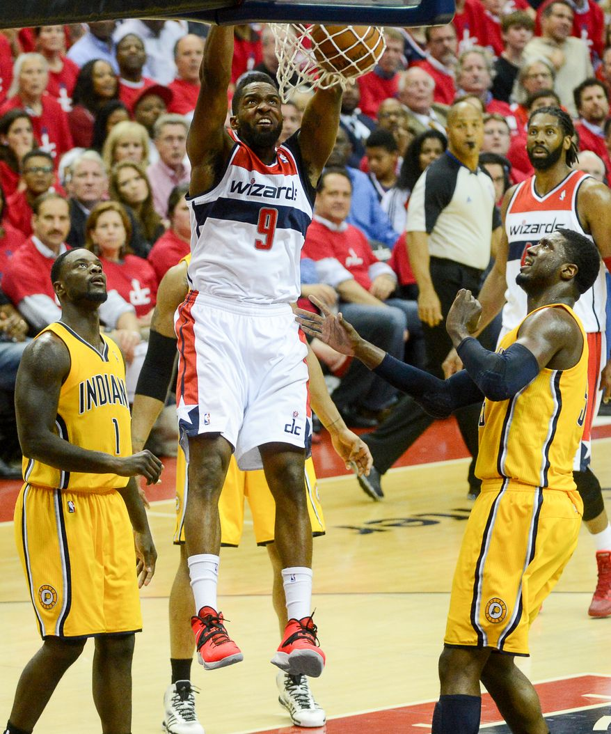 Washington Wizards forward Martell Webster (9) dunks in the first quarter as the Washington Wizards play the Indiana Pacers during game 6 of the 2nd round of the NBA Playoffs at the Verizon Center, Washington, D.C., Thursday, May 15, 2014. (Andrew Harnik/The Washington Times)