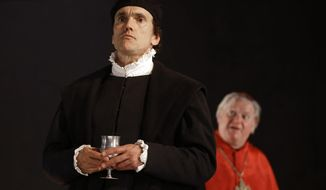 "In this Thursday, May 15, 2014 photo, a scene from 'Wolf Hall' with Ben Miles as Thomas Cromwell, foreground, and Paul Jesson as Cardinal Wolsey, right, during a media opportunity at the Aldwych Theatre in London. Hilary Mantel's Booker Prize-winning best-seller about deadly intrigue at the court of King Henry VIII will soon be a BBC series with Tony Award-winner Mark Rylance and ""Homeland"" star Damian Lewis. ""Wolf Hall"" and sequel ""Bring Up the Bodies"" have already been adapted into plays that plunge audiences into a world of murky Tudor machinations. As the plays move to London's West End after a rave-gathering run at the Royal Shakespeare Company in Stratford-upon-Avon, Mantel said the characters' complex motives and shades of gray were key to the stories' adaptability. (AP Photo/Kirsty Wigglesworth)"