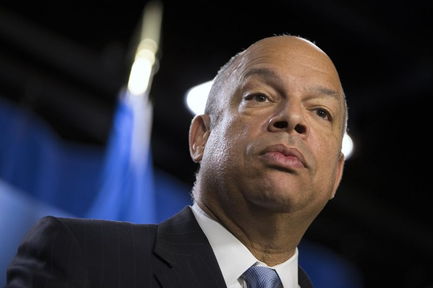 **FILE** Department of Homeland Security Secretary Jeh Johnson speaks during a news conference in Washington on March 18, 2014. (Associated Press)