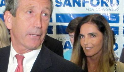 MARIA BELEN CHAPUR - Former South Carolina Gov. Mark Sanford, with his fiancee Maria Belen Chapur at his side, addresses supporters in Mount Pleasant, S.C., on Tuesday, April 2, 2013, after winning the GOP nomination for the U.S. House seat he once held. Sanford is trying to make a comeback after his political career was derailed four years ago when he disappeared from the state only to return to admit the couple was having an affair. Sanford's wife, Jenny, later divorced him. (AP Photo/Bruce Smith)