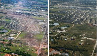 ADVANCE FOR USE MONDAY, MAY 19, AND THEREAFTER - This combination of aerial photos shows the path of destruction on May 21, 2013, the day after a massive tornado hit Moore, Okla., left, and the same view on Thursday, May 15, 2014, right. (AP Photo)