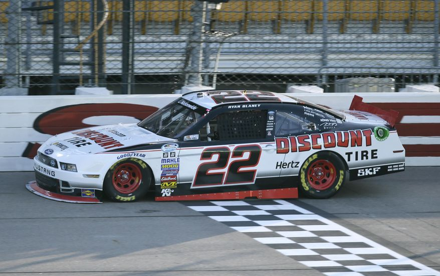 Ryan Blaney drives during qualifying for the NASCAR Nationwide series auto race, Saturday, May 17, 2014, at Iowa Speedway in Newton, Iowa. (AP Photo/Charlie Neibergall)