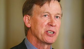 "FILE - Colorado Gov. John Hickenlooper speaks at a news conference at the Capitol in Denver in this Wednesday, May 22, 2013 file photo. Hickenlooper Saturday afternoon May 17, 2014 will sign Colorado's ""Right To Try"" bill, which was passed unanimously in the state Legislature. The ""Right To Try"" law allows terminally ill patients to obtain experimental drugs without getting federal approval. The bill doesn't require drug companies to provide any drug outside federal parameters, and there's no indication pharmaceutical companies will do so. (AP Photo/Ed Andrieski, File)"