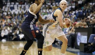 Minnesota Lynx guard Lindsay Moore, right, protects the ball against Connecticut Sun guard Alex Bentley in the first half of an WNBA basketball game, Sunday, May 18, 2014, in Minneapolis. (AP Photo/Stacy Bengs)