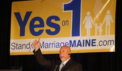 FILE - In this Nov. 3, 2009 file photo, Frank Schubert, campaign director for Stand for Marriage Maine, talks to supporters of Yes on 1, in Portland, Maine.  Schubert who was the key proponent and political strategist, of California's Proposition 8, is the older brother of Sacramento county District Attorney candidate, Anne Marie Schubert, who is gay. (AP Photo/Robert F. Bukaty, File)
