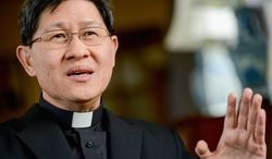 Cardinal Luis Antonio Tagle, who at 56 is one of the younger members of the College of Cardinals, has been at the forefront of the Vatican's sex-abuse scandal reform efforts for decades, to help older clergy who could not fully comprehend the crisis, he said. (andrew harnik/the washington times)