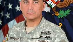 """This photo provided by the US Army shows Command Sgt. Maj. Martin R. Barreras, 49, of Tucson, who died Tuesday, May, 13, 2014, at San Antonio Military Medical Center. Barreraswas wounded May 6, in Harat Province, Afghanistan, when his unit was attacked with small arms fire, according to the Department of Defense. Calvin Barreras said Sunday, May, 18, 2014, that Command Sgt. Maj. Barreras was instrumental in orchestrating Lynch's rescue, but he was humble about his part in it. """"It was something he took part in, and it wasn't anything he wanted recognition for,"""" Calvin Barreras said. (AP Photo/US Army)"""