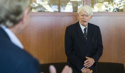 "In a photo provided by Boston College and made in  October, 2013, History Professor Emeritus, Radu Florescu, speaks during a book-signing on campus at Boston College for his new book, ""Dracula's Bloodline: A Florescu Family Saga."" Romanian-born historian and philanthropist Radu Florescu, who wrote a book linking Count Dracula to the 15th-century Romanian prince Vlad the Impaler, has died at 88. (AP Photo/Lee Pellegrini, Boston College)"