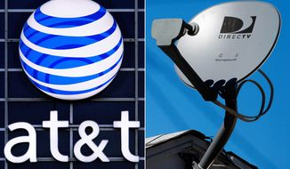 This combo made from file photos shows the AT&T logo on the side of a corporate office in Springfield, Ill., left, and a DirecTV satellite dish atop a home in Los Angeles. Priming itself for the age of Internet-delivered video, AT&T Inc. on Sunday, May 18, 2014 said it would buy DirecTV for $48.5 billion in cash and stock, or $95 per share. (AP Photo)