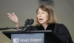"""Jill Abramson, former executive editor of The New York Times, speaks at the commencement ceremony at Wake Forest University in Winston-Salem,N.C., Monday, May 19, 2014. """"What's next for me? I don't know. So I'm in exactly the same boat as many of you,"""" Abramson told the Class of 2014 Monday morning. The Times announced last week that Abramson was being replaced by managing editor Dean Baquet. (AP Photo/Nell Redmond)"""