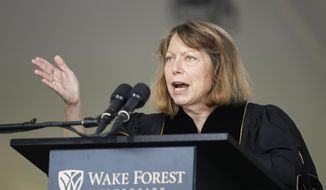 "Jill Abramson, former executive editor of The New York Times, speaks at the commencement ceremony at Wake Forest University in Winston-Salem,N.C., Monday, May 19, 2014. ""What's next for me? I don't know. So I'm in exactly the same boat as many of you,"" Abramson told the Class of 2014 Monday morning. The Times announced last week that Abramson was being replaced by managing editor Dean Baquet. (AP Photo/Nell Redmond)"