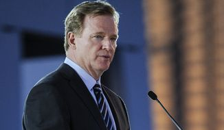 NFL Commissioner Roger Goodell speaks during the ground breaking ceremony for the new stadium that will be the home of the Atlanta Falcons NFL football team, held Monday, May 19, 2014, in Atlanta. (AP Photo/John Amis)