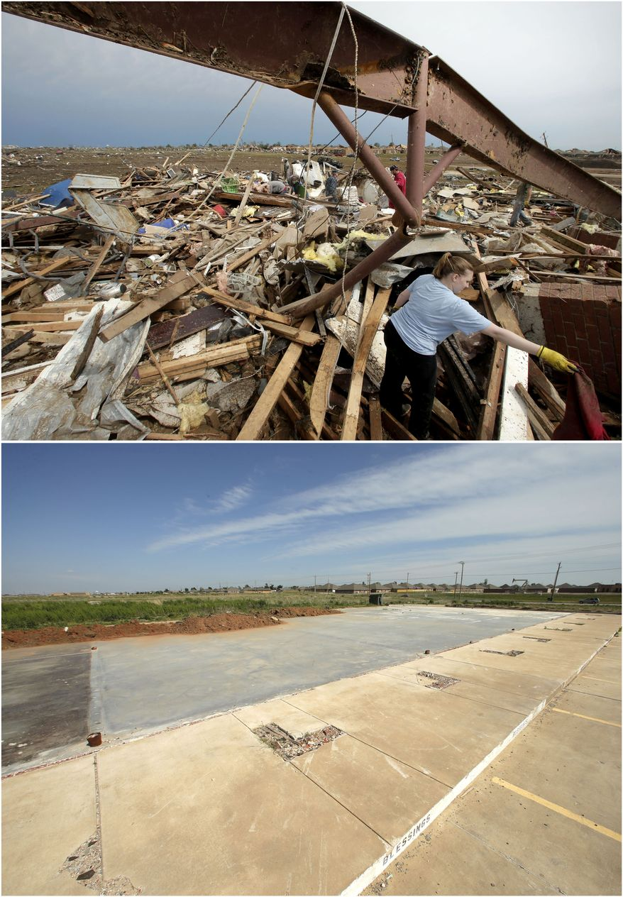 In this photo combination, Katie Thomas sorts through debris at a friend's tornado-ravaged daycare on May 21, 2013, in Moore, Okla., top. A concrete slab is all that remains of the shopping center that contained the daycare on May, 8, 2014, bottom. (AP Photo/Charlie Riedel)