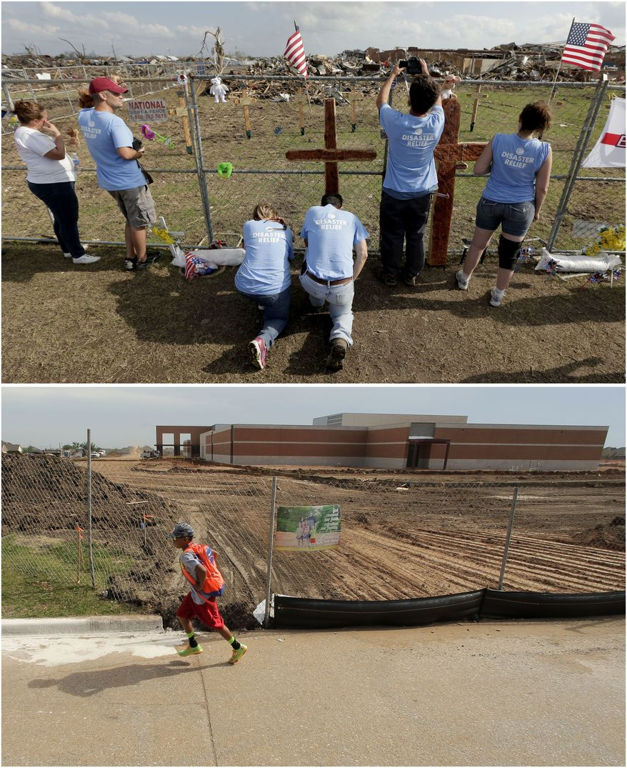 In this photo combination, volunteers pray at a makeshift memorial on May 26, 2013, outside Plaza Towers Elementary School in Moore, Okla., the day after seven students died when a massive tornado hit the town, top. A boy walks past the rebuilt school building on the same site on May 7, 2014, bottom. (AP Photo/Charlie Riedel)