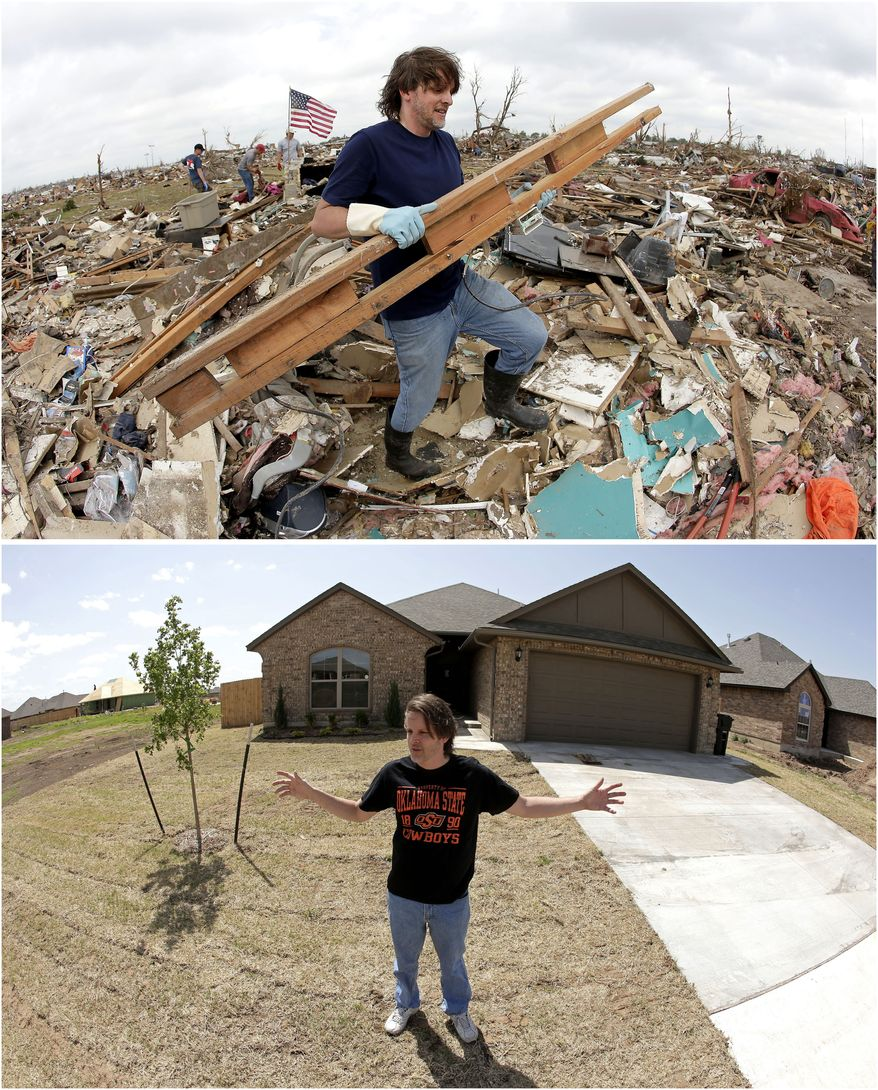 In this photo combination, Kevin Kressler carries away debris at his tornado-ravaged home on May 25, 2013, in Moore, Okla., top. Kressler stands for a photo in front of his new home on May, 8, 2014, bottom. Kressler was one of the first residents to move back to his neighborhood after a massive tornado on May 20, 2013, leveled blocks around him in the Oklahoma City suburb. (AP Photo/Charlie Riedel)