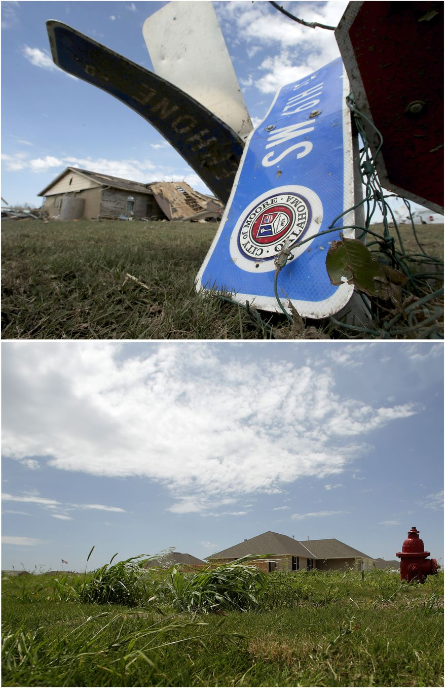 In this photo combination, a tornado-ravaged home stands in the distance beyond a twisted street sign on May 22, 2013, in Moore, Okla., top, and the lot is cleared and a new homes stand next door on May 8, 2014, bottom. Moore continues to rebuild in the wake of a massive tornado that tore through Oklahoma City suburb on May 20, 2013. (AP Photo/Charlie Riedel)