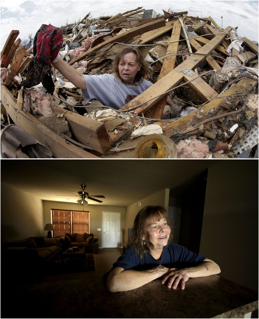 In this photo combination, Carol Kawaykla salvages items at her tornado-ravaged home on May 23, 2013, in Moore, Okla., top, and Kawaykla stands for a photo in her new home near the same area on May 7, 2014, bottom. Kawaykla said she misses some personal items lost in the tornado, but is more concerned with safety of children in schools during storms. (AP Photo/Charlie Riedel)
