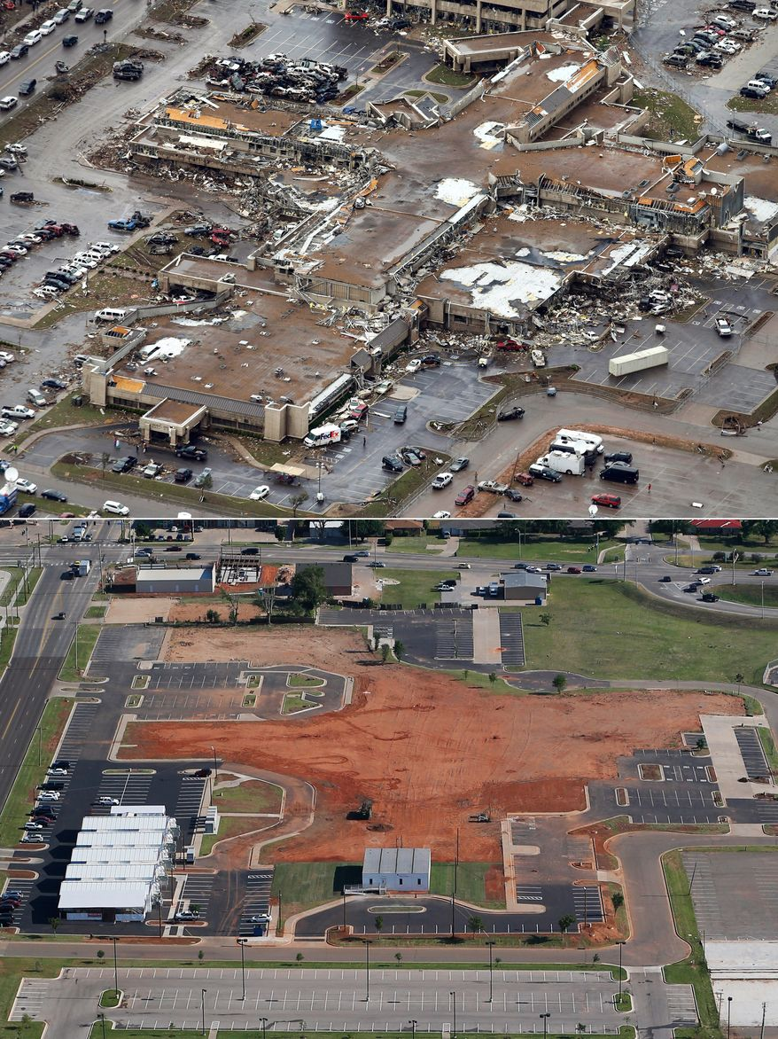 This aerial photo combination shows the damage to the Moore Medical Center Emergency Services on May 21, 2013, after a massive tornado hit Moore, Okla., the day before, top, and the same view on May 15, 2014, bottom. (AP Photo)