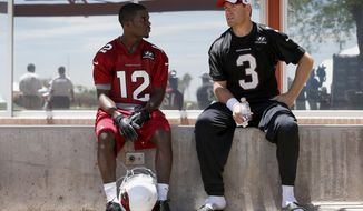 Arizona Cardinals quarterback Carson Palmer (3) talks with rookie wide receiver John Brown (12) after an NFL football organized team activity workout at the Cardinals training facility on Tuesday, May 20, 2014, in Tempe, Ariz. (AP Photo/Ross D. Franklin)