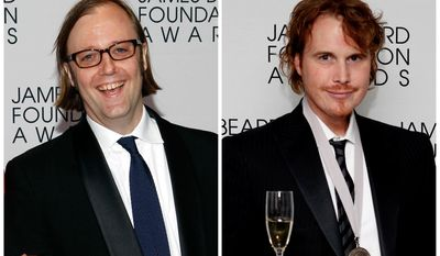 This May 7, 2012 file combo photo shows Chef Wylie Dufresne, chef and owner of the wd~50 and Alder restaurants in Manhattan, left, and chef Grant Achatz of Next in Chicago at the James Beard Foundation Awards in New York. The James Beard Foundation announced Tuesday, May 20, 2014, that its awards ceremony honoring the best chefs and restaurants is moving to Chicago after 24 years in New York City.  (AP Photo/Jason Decrow, Files)