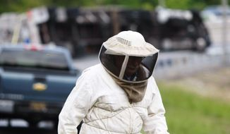 Bees swarm after being released from a tractor-trailer that overturned carrying them near Newark, N.J., Tuesday, May 20, 2014, on the ramp from Route 896 to Interstate 95. Sgt. Paul Shavack said the driver and a passenger were taken to Christiana Hospital with minor injuries. (AP Photo/The Wilmington News-Journal, Suchat Pederson)