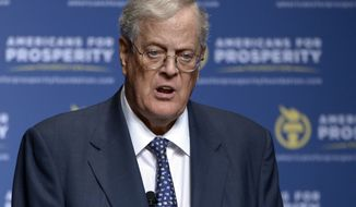 FILE - In this Aug. 30, 2013, file photo, Americans for Prosperity Foundation Chairman David Koch speaks in Orlando, Fla. Americans for Prosperity is launching an effort to kill the legislative appropriation that is the key to Detroit's bankruptcy settlement. (AP Photo/Phelan M. Ebenhack, File)