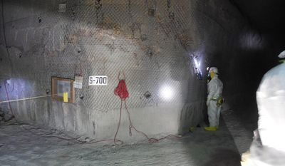FILE - This April 2, 2014 file image provided by the U.S. Department of Energy shows workers underground inside the Waste Isolation Pilot Plant facility in Carlsbad, N.M., for the first time since the Feb. 14 radiological release. Workers at a West Texas nuclear waste disposal site are closely monitoring containers from Los Alamos National Lab, Tuesday, May 20, 2014, a day after New Mexico officials announced a type of kitty litter is believed to have caused a radiation leak at the federal government's troubled nuclear waste dump. (AP Photo/U.S. Department of Energy, File)