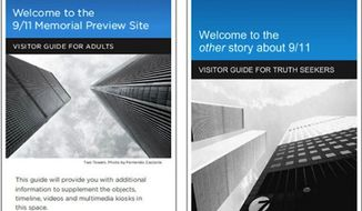 Real 9/11 Memorial brochure, left, and the protest group's fake brochure, right. (Village Voice)