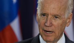 ** FILE ** U.S. Vice President Joe Biden delivers a speech during a joint statement to the press, alongside Romanian Prime Minister Victor Ponta in Bucharest, Romania, Wednesday, May 21, 2014. (AP Photo/Octav Ganea, Mediafax)