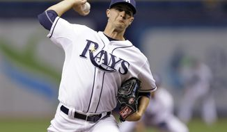 Tampa Bay Rays starting pitcher Jake Odorizzi delivers to the Oakland Athletics during the first inning of a baseball game Tuesday, May 20, 2014, in St. Petersburg, Fla. (AP Photo/Chris O'Meara)
