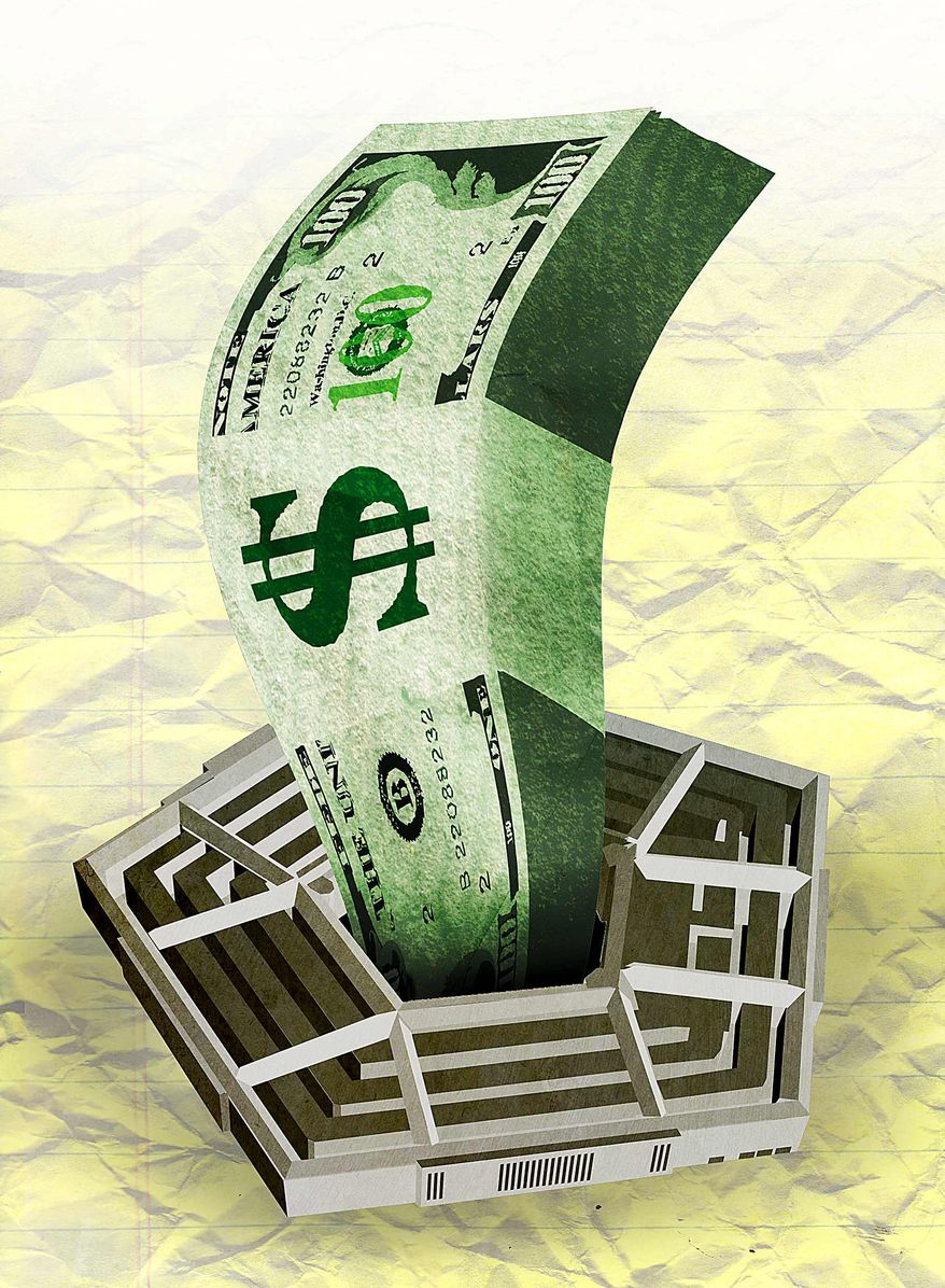 Pentagon Money Illustration by Greg Groesch/The Washington Times