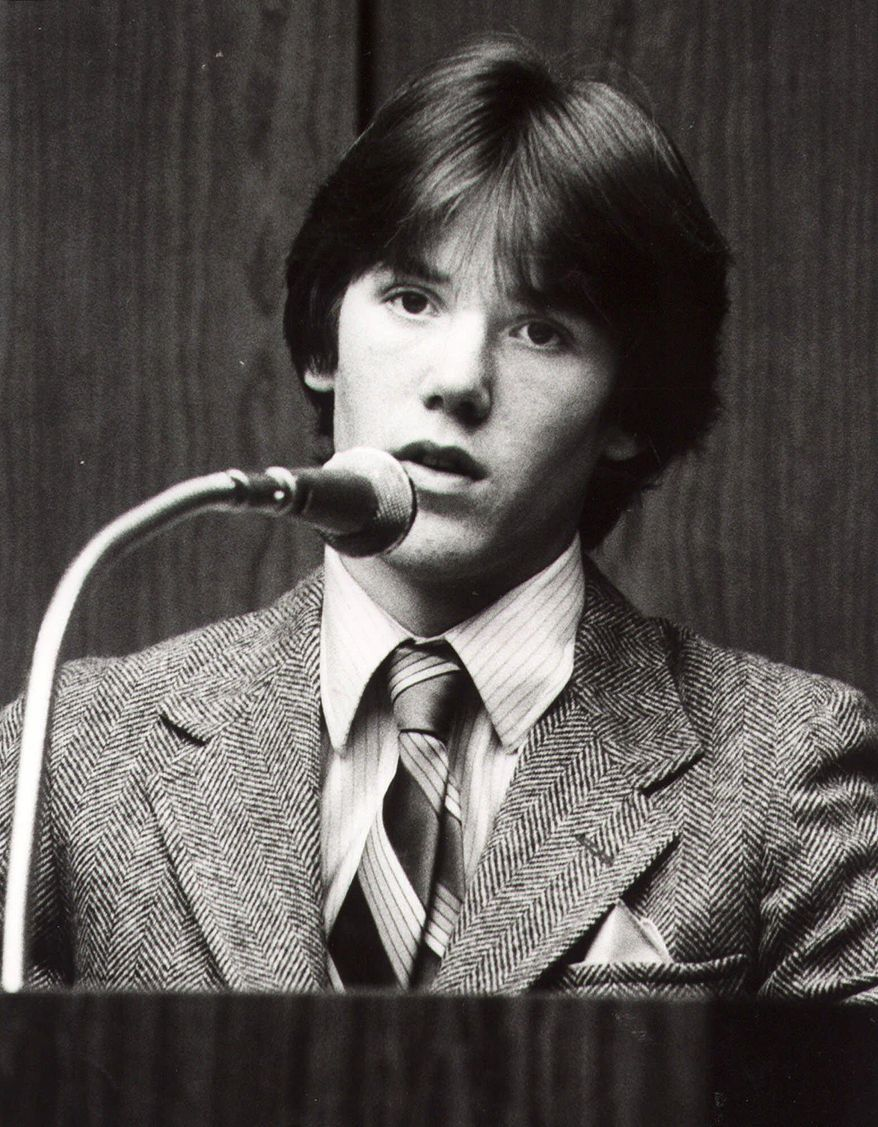 FILE - This is a 1981 file photo of Steven Stayner as he testifies about his abduction in 1972 by Kenneth Eugene Parnell and his seven years in captivity. The 7-year-old boy was kidnapped in 1972 while walking home from school in Merced, California. After Stayner escaped captivity in 1980, Kenneth Eugene Parnell was convicted of kidnapping him and a second boy, 5-year-old Timmy White, and sentenced to seven years in prison. Stayner died in a motorcycle accident in 1989 at age 24. (AP Photo/File)