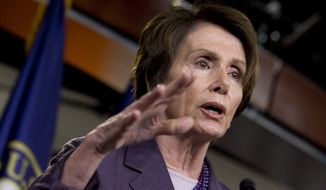 ** FILE ** This May 9, 2014, file photo shows House Minority Leader Nancy Pelosi, D-Calif., speaking on Capitol Hill in Washington. (AP Photo/Jacquelyn Martin, File)