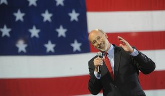 Tom Wolf talks to his supporters during a rally at Santander Stadium on Tuesday, May 20, 2014 after winning the Democratic nomination for Pa. Governor. (AP Photo/York Daily Record, Jason Plotkin)