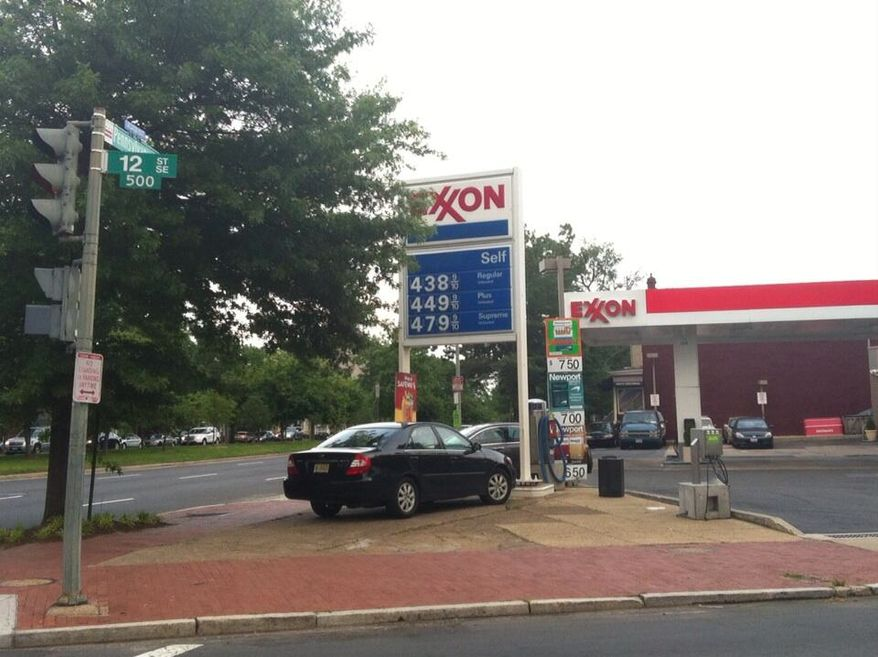 The price of gas at a D.C. station on Capitol Hill was $4.38 per gallon on May 20, well above the city average of $3.87 per gallon and the regional average of $3.64 per gallon (Andrea Noble/The Washington Times)